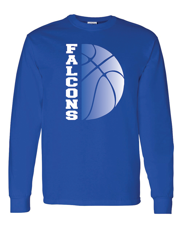 2-Falcons basketball gildan royal long sleeve
